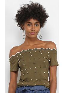 Blusa Lily Fashion Ombro A Ombro Tricot Pérolas Feminina - Feminino-Verde