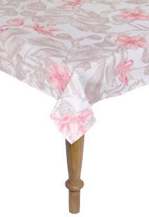 Toalha De Mesa Quadrada Kacyumara Limpa Fácil 160X160Cm Flams Rose