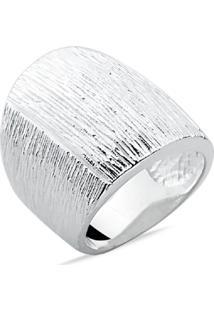 Anel Prata Rara Stone Texturizado Cinza