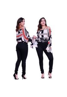Calça Jeans Feminina Luxo Preta Barata Cintura Alta