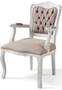 Poltrona Elegance Laca Branco Com Capitone Linho Bege - 58865 - Sun House