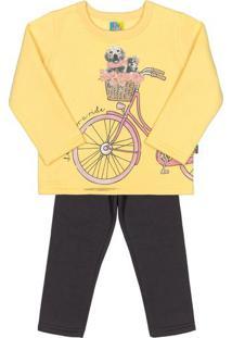 Conjunto De Blusa Bicicleta + Calã§A Reta- Amarelo & Pretbee Loop