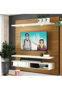 Home Suspenso Para Tv Até 60 Polegadas 2 Gavetas Com Espelho E Led Bruna 100% Mdf Freijó/Off White - Urbe Móveis