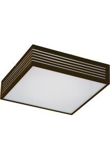 Plafon Em Alumínio Para 3 Lâmpadas Rasgo 35X35Cm Café