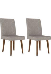 Jogo De 2 Cadeiras Jade Pé Palito Pena Caramelo Rv Móveis