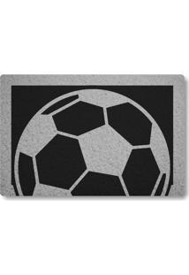 Tapete Capacho Bola De Futebol - Preto