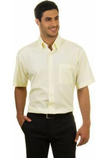 Camisa Social Masculina Amarela Claro Lisa - 001
