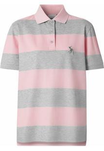 Burberry Camisa Polo Com Listras - Rosa