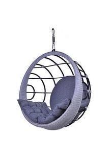 Poltrona De Balanco Bowl Em Aluminio Revestido Em Corda Cor Azul - 45200 45200
