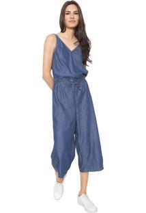 86fd53dc4a ... Macacão Jeans Hering Pantacourt Transpassado Azul
