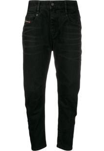 Diesel Calça Jeans Cintura Média - Preto