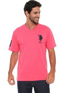 Camiseta U.S. Polo Logo Rosa
