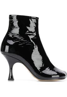 Mm6 Maison Margiela Ankle Boot 'Tabi' De Couro - Preto