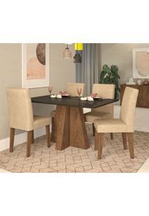 Conjunto De Mesa De Jantar Com 4 Cadeiras Estofadas Amanda Suede Preto E Bege