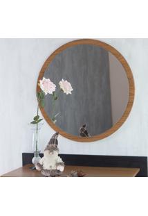 Espelho De Parede Redondo De Pendurar Para Sala Freijó Diâmetro 70Cm - Paul