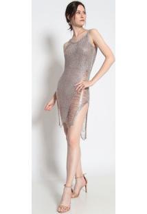 Vestido Longo Com Fio Metalizado- Rosê- Le Fixle Fix