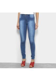 Calça Jeans Skinny Coffee Estonada Cintura Média Feminina - Feminino-Azul