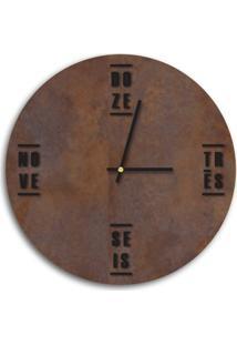 Relógio De Parede Decorativo Premium Corten Com Palavras Em Relevo Preto Ônix Médio