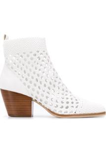 Michael Michael Kors Ankle Boot Cowboy Bico Fino - Branco