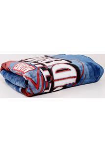 Cobertor Solteiro Jolitex Azul/Vermelho
