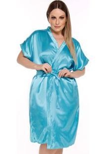Robe Plus Size Acetinado Feminino Luna Cuore - Feminino-Azul Tiffany