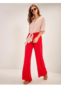 Calça Crepe Pantalona Cintura Alta Vermelho