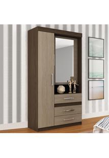 Guarda-Roupa 2 Portas 3 Gavegas 20Gr2307 Com Espelho Nogal/Avelã - Rodial