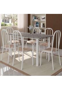 Conjunto De Mesa Granada Com 6 Cadeiras Madri Branco E Natural Bege
