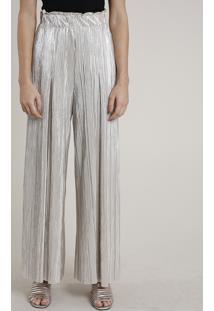 Calça Feminina Mindset Pantalona Metalizada Plissada Bege Claro
