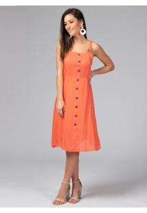 Vestido Com Botões Frente E Alças Coral