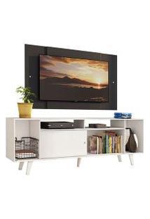 Rack Madesa Cancun E Painel Para Tv Até 58 Polegadas Com Pés - Branco/Preto 0977 Cor:Branco/Preto
