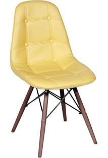 Cadeira Eames Botonê- Amarela & Madeira Escura- 83X4Or Design