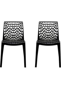 Conjunto De 2 Cadeiras Gruv Preta