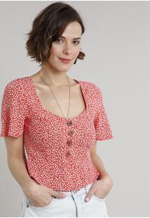 Blusa Feminina Cropped Peplum Estampada Floral Com Botões Manga Curta Decote V Vermelha