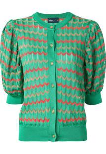 Kolor Cardigan Com Ombros Estruturados E Padronagem Chevron - Verde