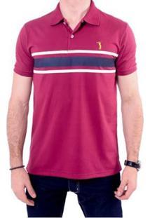 Camisa Polo Golf Club Listrada Masculina - Masculino-Vinho