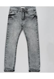 Calça Jeans Infantil Marmorizada Cinza