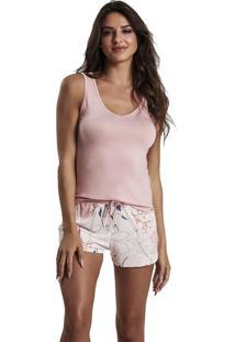 Pijama Recco Regata Viscose E Microfibra Rosa - Tricae