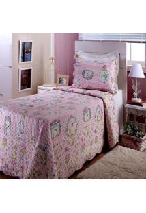 Colcha Boutis Com Porta Travesseiros Solteiro Glam Rosa 2 Peças - 100% Poliéster - Viva Cor - Cortte