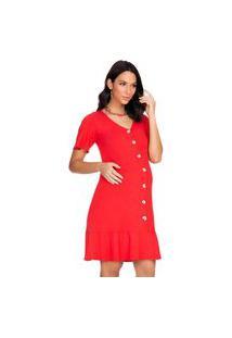 Vestido Amam. Megadose Moda Gestante Curto Vermelho