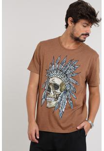 Camiseta Masculina Caveira Com Cocar Manga Curta Gola Careca Caramelo