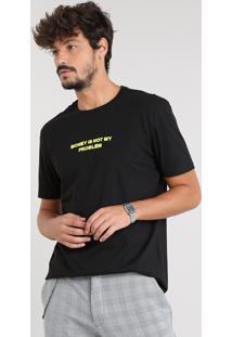 """Camiseta Masculina Com Bordado """"Money"""" Manga Curta Gola Careca Preta"""