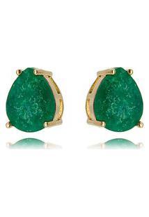 Brinco Soloyou Gota Verde Esmeralda Fusion Ouro Rosé 10 X 12 Mm Semijoia