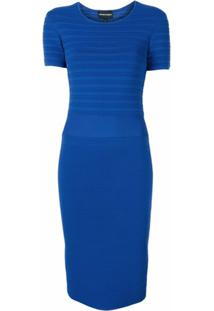 Emporio Armani Vestido Slim Canelado - Azul
