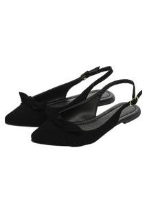 Mule Feminino Sapatilha Donatella Shoes Rasteira Slingback Laço Nobuck Preto