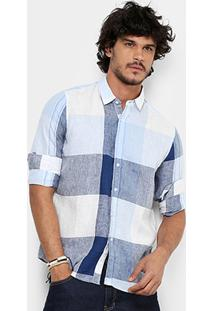Camisa Xadrez Pacific Blue Manga Longa Masculina - Masculino