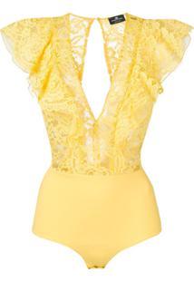 Elisabetta Franchi Body Com Renda E Detalhe Franzido - Amarelo