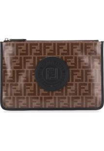 Fendi Ff Motif Zipped Clutch - Marrom