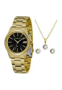 Kit Relógio Lince Feminino Funny Analógico Dourado Lrgh125L-Kx26P1Kx