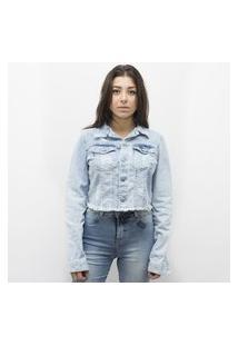 Jaqueta Anjuss Cropped Jeans Azul
